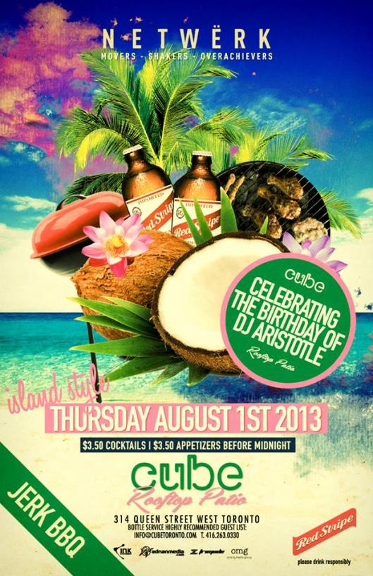 Cube tonight!! Celebrates with a little Island flavour and Dj Aristotle Jacques birthday party .....6pm to 12 $3.50 Cocktails and appetizers & $150 Ketel One — with Kevin Nagano, Odie Lu and Adnan Farhoud.