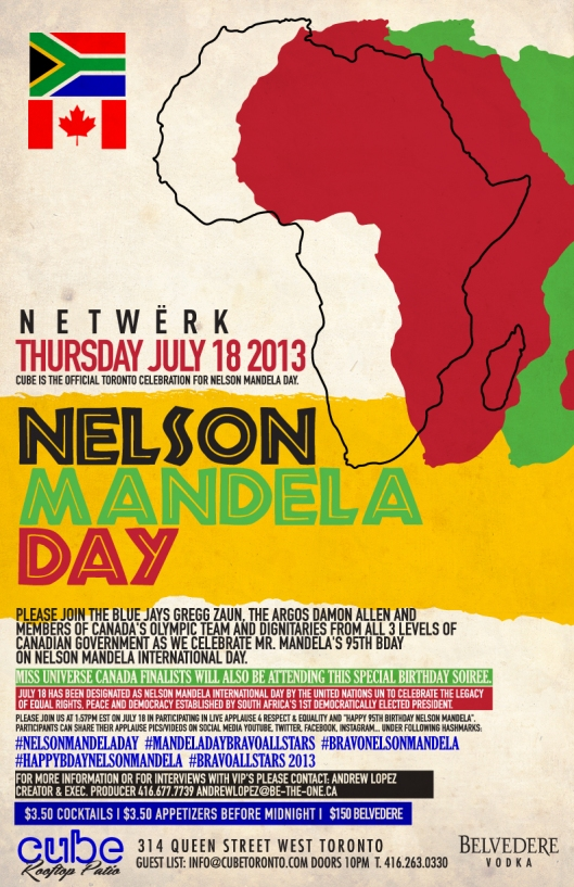 CELEBRATING NELSON MANDELA's BIRTHDAY hosted by GREG GUAN(JAYS) & ARGOS DAMON ALLEN & OMG