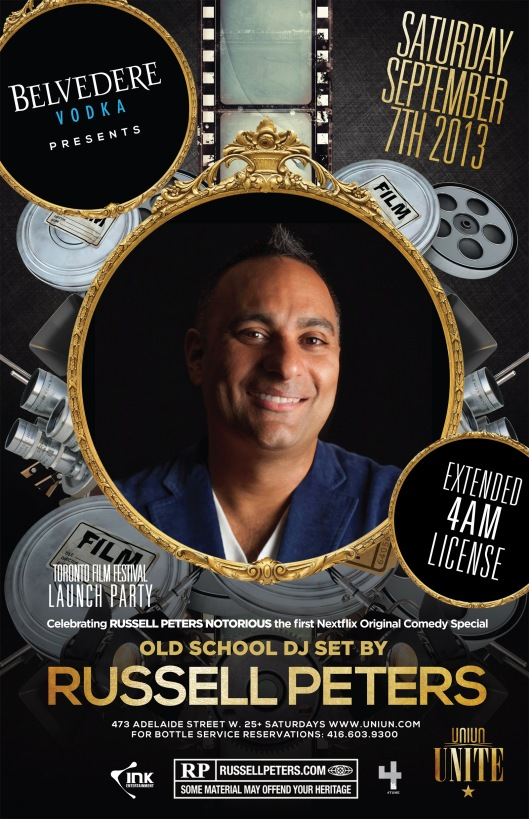 RUSSELL PETERS @UNIUN SAT SEPT 7TH | TIFF SPECIAL EVENT